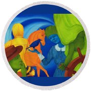 Travel In The Undefined Time. Round Beach Towel