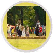 Travel In Time To Renaissance Round Beach Towel