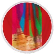 Travel Shopping Colorful Scarves Abstract Series India Rajasthan 1b Round Beach Towel