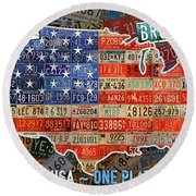 Travel The Usa One Plate At A Time License Plate Art By Design Turnpike Round Beach Towel