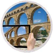 Travel To Pont Du Gard  Round Beach Towel