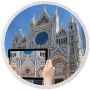 Travel To Siena Concept Round Beach Towel