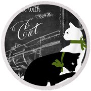 Travel With Your Cat Round Beach Towel