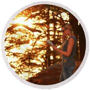 Traveler Woman In The Forest Round Beach Towel