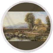 Travelers In A Welsh Landscape Round Beach Towel