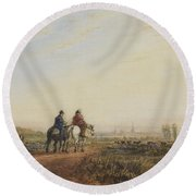 Travelers On The Road To Lancaster Round Beach Towel
