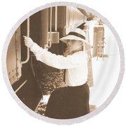 Traveling By Train - Sepia Round Beach Towel