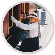 Traveling By Train Round Beach Towel