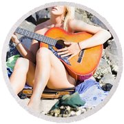 Traveling Musician Round Beach Towel