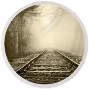 Traveling On The Tracks Antique Round Beach Towel