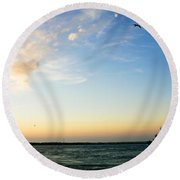 Travels At Sunset Round Beach Towel