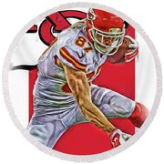 Travis Kelce Kansas City Chiefs Oil Art Round Beach Towel