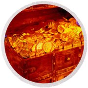 Treasure Chest With Gold Coins Round Beach Towel