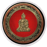 Treasure Trove - Gold Buddha On Black Velvet Round Beach Towel