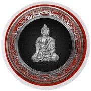 Treasure Trove - Silver Buddha On Red Velvet Round Beach Towel