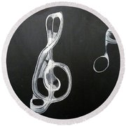 Treble Clef Round Beach Towel