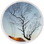 Tree Above Crummock Water Round Beach Towel