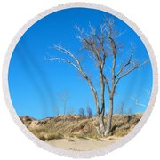 Tree And A Dune Round Beach Towel