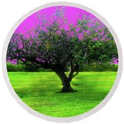Tree And Color Round Beach Towel