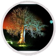 Tree And Moon Round Beach Towel