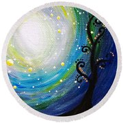 Tree And Moonstars Round Beach Towel