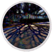 Tree And Shadow Round Beach Towel