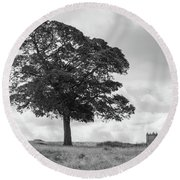Tree And The Cage Tower In The Distance In Lyme Park Estate In B Round Beach Towel
