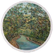 Tree Arched Road Round Beach Towel
