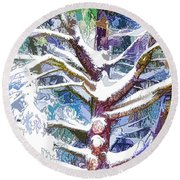 Tree Branches Covered By Snow In Winter Round Beach Towel