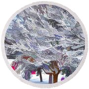 Tree Branches Covered By Snow  Round Beach Towel