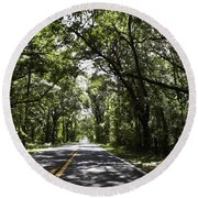 Tree Covered Road Round Beach Towel