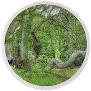 Tree Curves Two Round Beach Towel