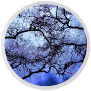 Tree Fantasy In Blue Round Beach Towel
