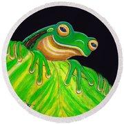 Tree Frog On A Leaf With Lady Bug Round Beach Towel