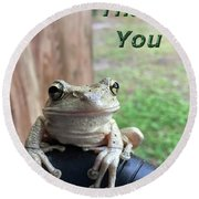 Tree Frog Thank You Round Beach Towel