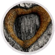 Tree Graffiti Heart Round Beach Towel