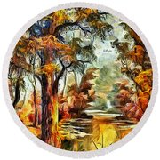 Tree Impression Round Beach Towel