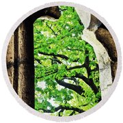 Tree In A Medieval Frame Round Beach Towel