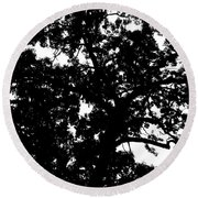 Tree In Black And White Round Beach Towel