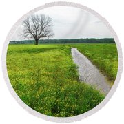 Tree In Field 2 Round Beach Towel