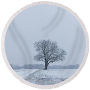 Tree In Heavy Snow Round Beach Towel