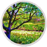 Tree In Spring Round Beach Towel