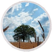 Tree In The Field Round Beach Towel