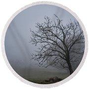Tree In The Fog Round Beach Towel