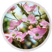 Tree Landscape Pink Dogwood Flowers Baslee Troutman Round Beach Towel