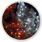 Tree Lights Round Beach Towel