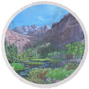 Tree Line Oasis  Round Beach Towel