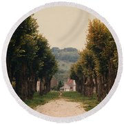 Tree Lined Pathway In Lyon France Round Beach Towel