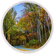 Tree Lined Road Round Beach Towel