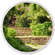 Tree Lined Steps Round Beach Towel